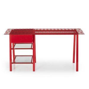 alin a pica bureau rouge avec plateau verre et motifs g om triques pas cher achat vente. Black Bedroom Furniture Sets. Home Design Ideas