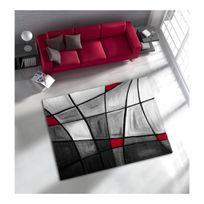 Allotapis - Tapis de salon avec effet 3D gris et rouge Chic