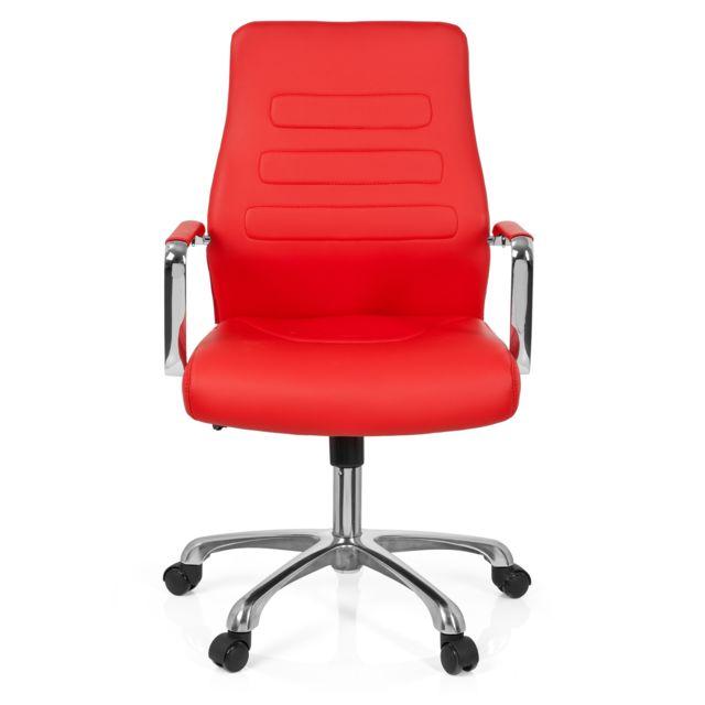 Hjh Office Chaise de bureau / Fauteuil de direction Tewa simili cuir rouge