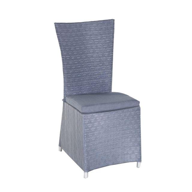 Structure en aluminium recouverte de textilène, gris argenté. Vendue avec coussin en polyester gris