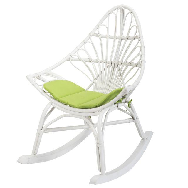 Rotin-design Soldes: -44% Rocking chair en rotin blanc Calpe - Rotin Design