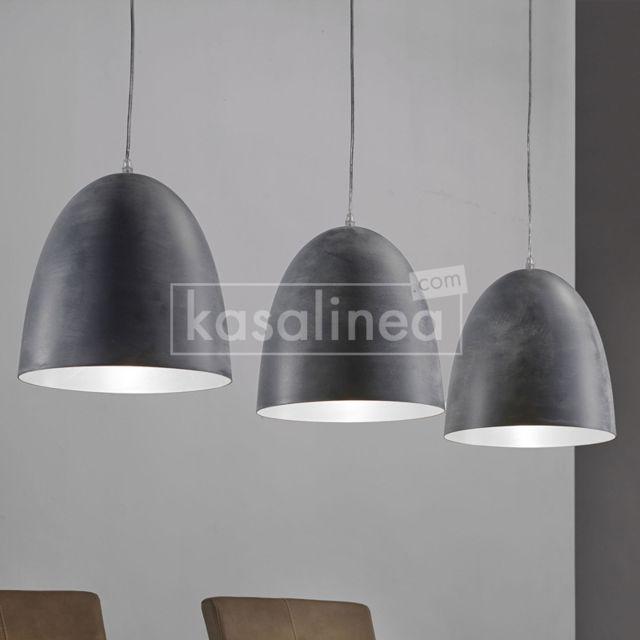 Kasalinea Luminaire suspension gris 3 lampes design Draco