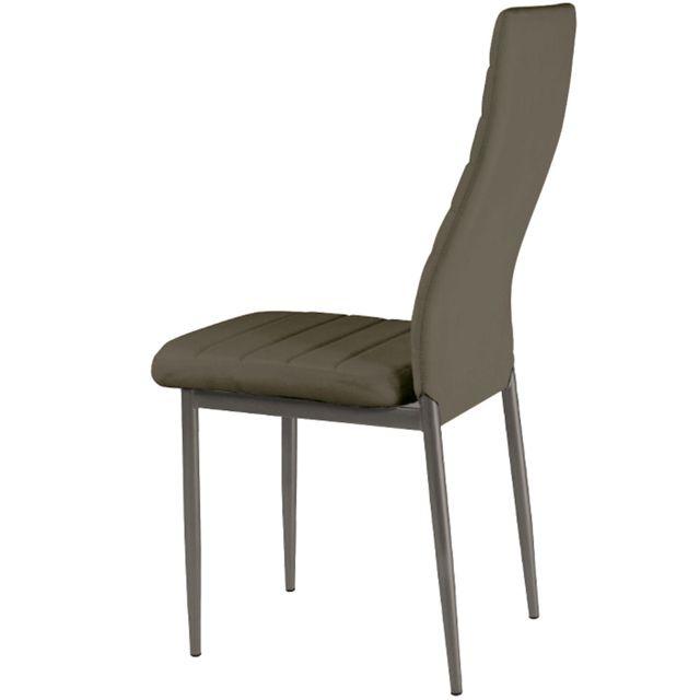 MENZZOPREMIUM - Lot de 8 chaises Stratus Taupe