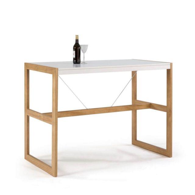 Bobochic Table bar Miami Blanc / Bois clair