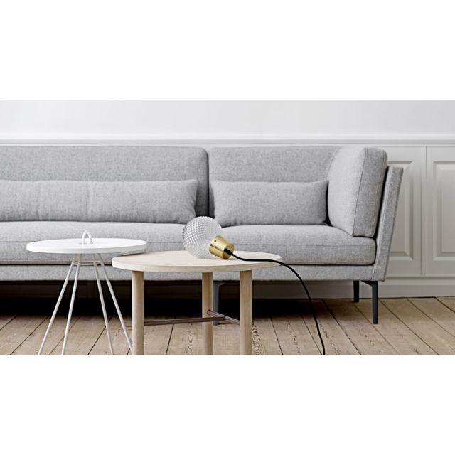 BLOOMINGVILLE Canapé 3-4 places en laine gris et pieds en fer brillants Collection Rox