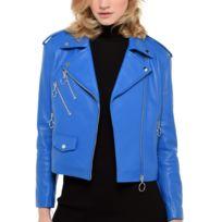 Blouson simili cuir bleu electrique