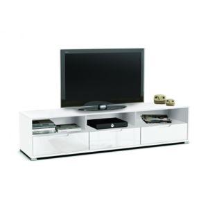 Rocambolesk banc tv 3 tiroirs 3 niches clio blanc for Banc tv blanc pas cher