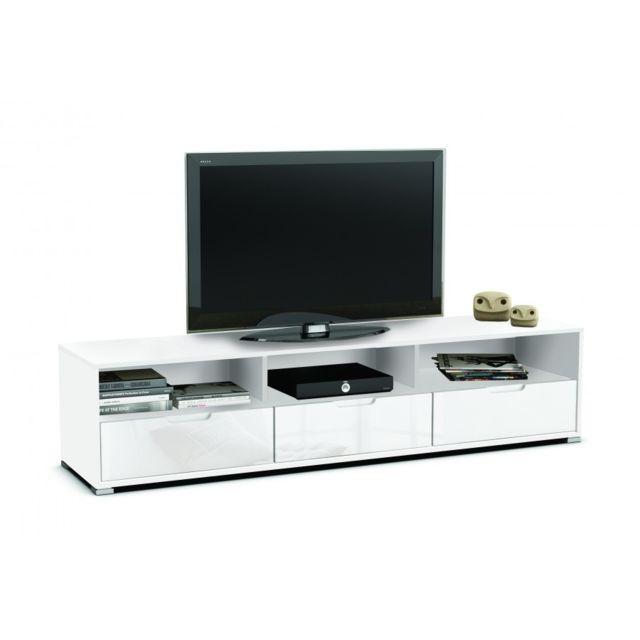 Rocambolesk Banc Tv 3 Tiroirs 3 Niches Clio Blanc Perle Blanc