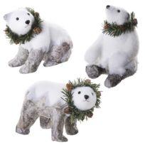 Marque Generique - Lot de 3 figurines déco Noël ours blanc avec effet écorce 20x13x19cm