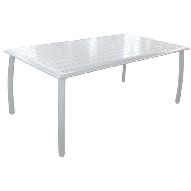 PROLOISIRS Table à lattes Azuro en aluminium blanc