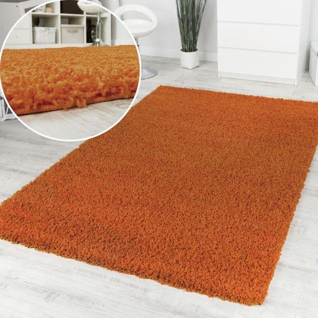 Paco Home Tapis Poils Hauts Et Longs Shaggy Orange Uni Super