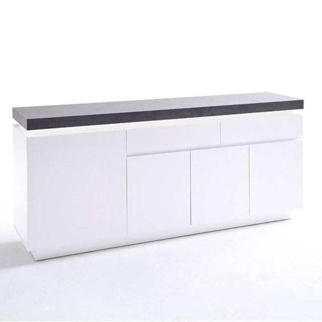 Inside 75 Buffet Atlantis laqué blanc mat et béton 4 portes 2 tiroirs Led blanc inclus