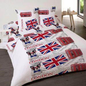 dourev housse de couette london rock 220x240 2 taies d 39 oreiller blanc 240cm x 220cm pas. Black Bedroom Furniture Sets. Home Design Ideas