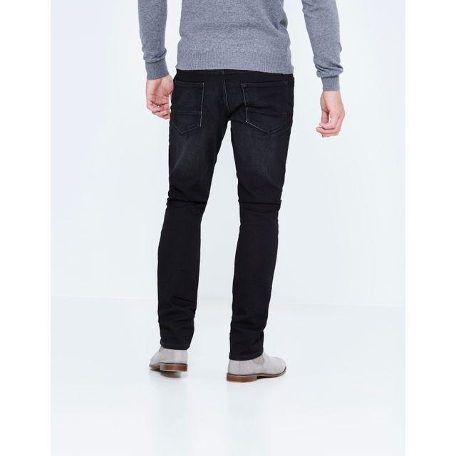 CELIO JEAN JOKLACK15 Noir 5 poche denim straight C15matière avec tissage effet maille pour un porter très confortable