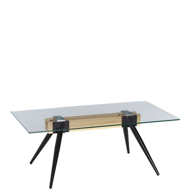 Ma Maison Mes Tendances Table basse rectangulaire en verre, structure en bois et pieds en métal Melina - L 110 x l 60 x H 42