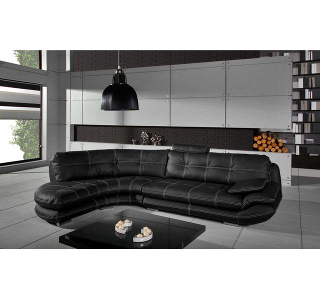 CHLOE DESIGN Canapé d'angle Regal - noir - Angle gauche