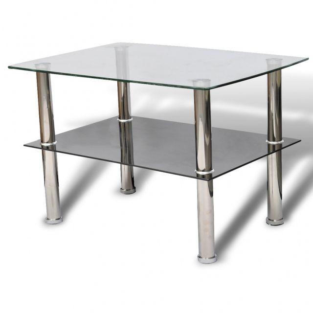 Casasmart Table basse rectangulaire double plateaux en verre