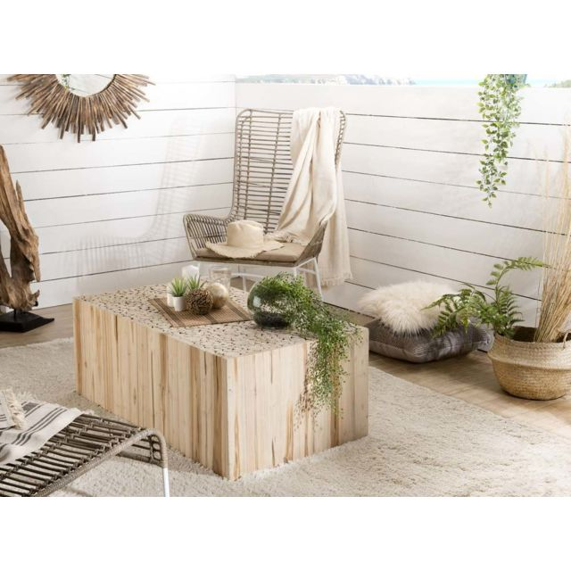 MACABANE Table basse rectangulaire nature branches Teck