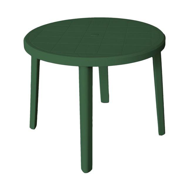 ARETA Table Ronde de jardin Zeus - Vert - Ø 90 x 72 cm