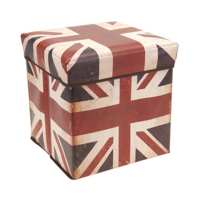 Home Tabouret Pouf Pliable Coffre De Rangement Drapeau Anglais Enchanting Pouf En Anglais
