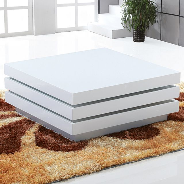 Nouvomeuble Table basse blanc laqué design pivotante Tero