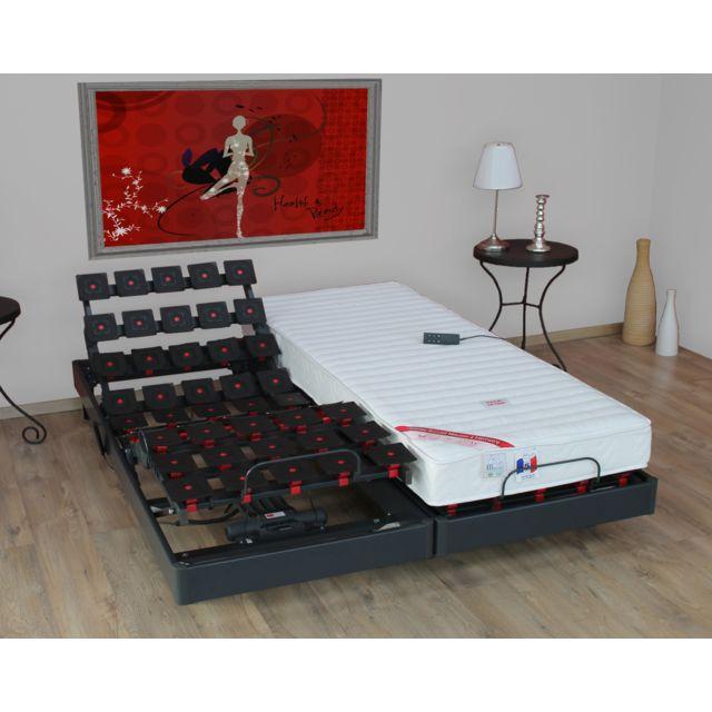 Lovea - Ensemble relaxation 100% latex 5 zones 73kg/m3 + sommier avec réglage fermeté partout Gris anthracite