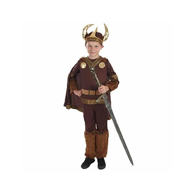 Fun Shack Boys Deluxe Viking Costume Historical Norse Warrior Horned Helmet Outfit - Large
