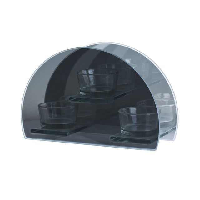 TABLE PASSION PHOTOPHORE ROND - 3 PLACES - VERRE 18 X 12 CM