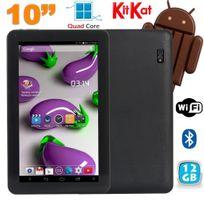 Tablette 10 pouces Quad Core Android 4.4 WiFi Bluetooth 12Go Noir