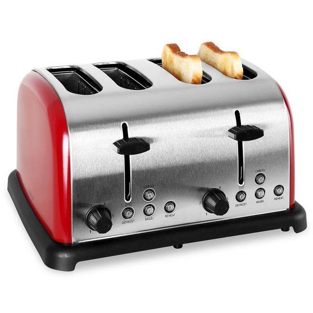 KLARSTEIN Grille pain rétro multifonction 4 tranches 1650w -rouge