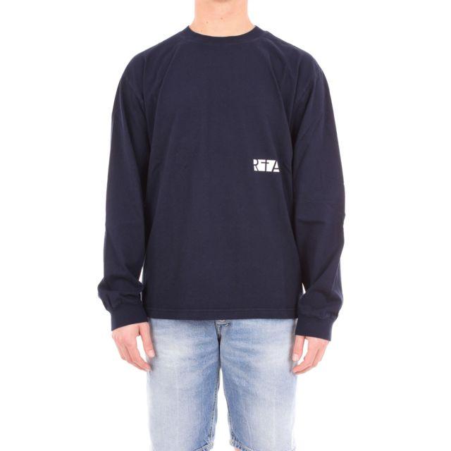 Rta Homme Mf89449BLUE Bleu Coton T-shirt