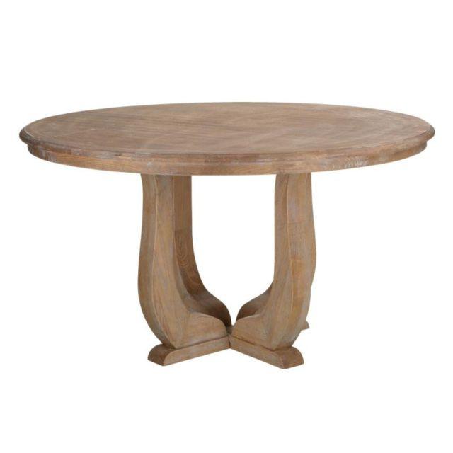 Tousmesmeubles Table de repas ronde campagne Bois blanchi - Zagora