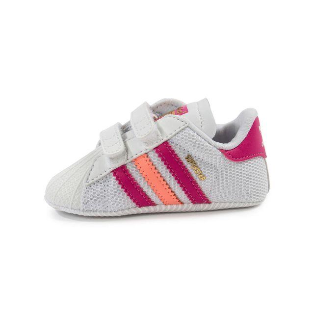 Adidas Superstar Bébé Blanche Et Rose pas cher Achat