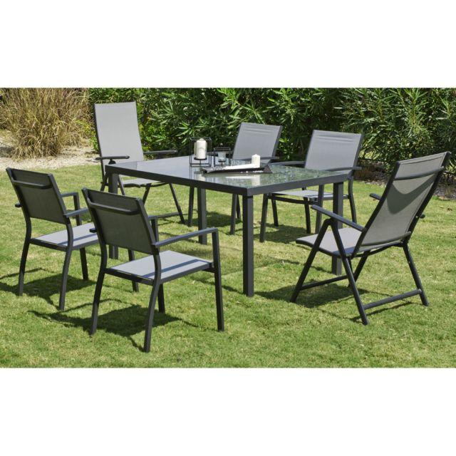 Hevea Jardin - Ensemble tables et chaises Set horizon Alu/textilene ...
