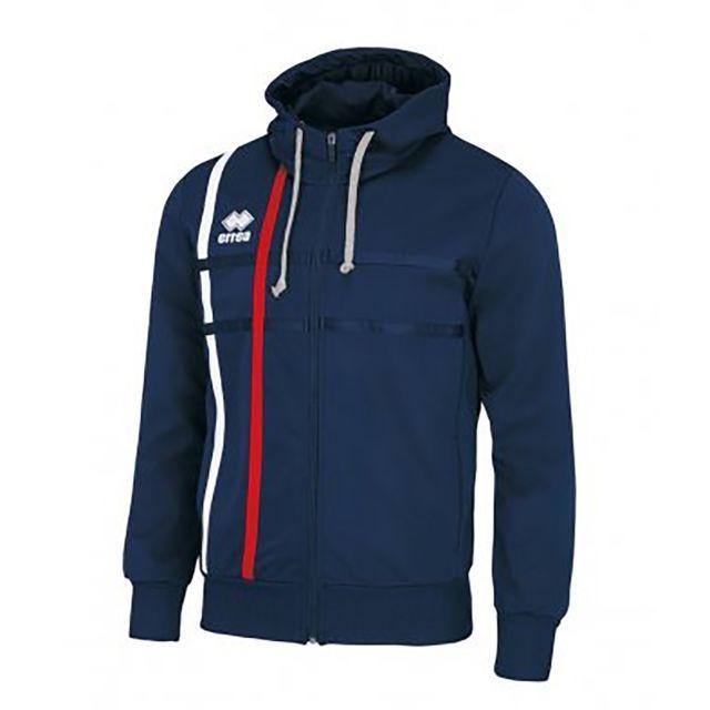 Errea Maddi - Sweat à capuche et fermeture zippée - Homme 2XL, Bleu marine/Rouge Utpc2697