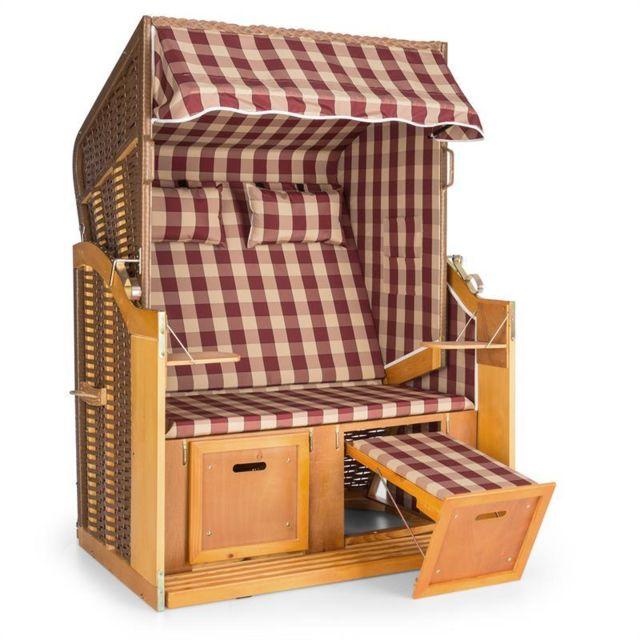 BLUMFELDT Hiddensee Chaise longue cabine plage XL 2 places carreaux -rouge/blanc