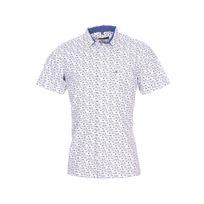 Jean Chatel - Chemise droite manches courtes en coton blanc à motifs fleuris bleus et marron clair