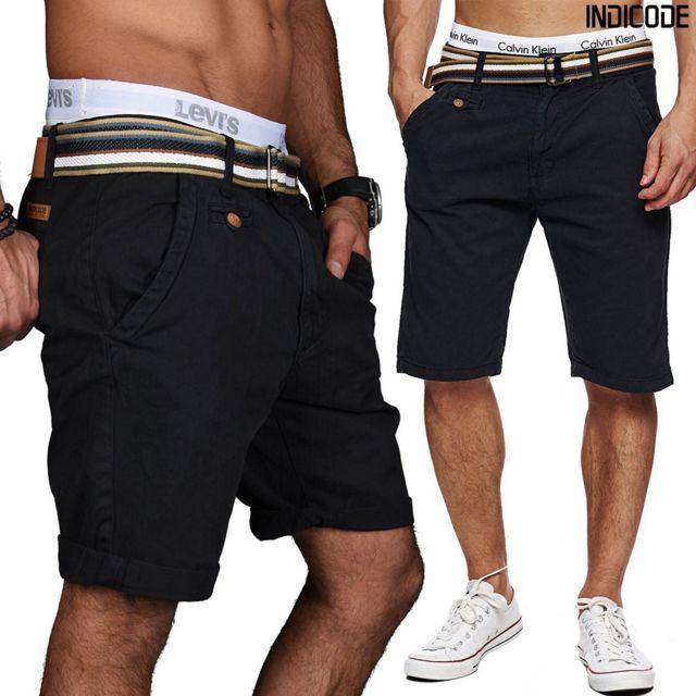 Unitif - Royce Indicode shorts noir gabardine coton avec ceinture inclut -  Xl - pas cher Achat   Vente Short homme - RueDuCommerce ecfb331601d