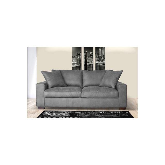 Canapé 2 places fixe en tissu gris clair - Lanan