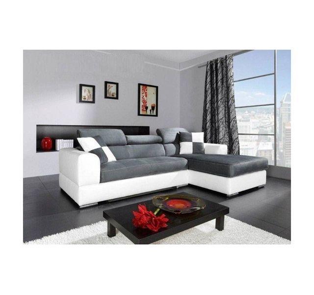 CHLOE DESIGN Canapé d'angle madrid i - cuir pu et microfibre - gris et blanc - Angle droit