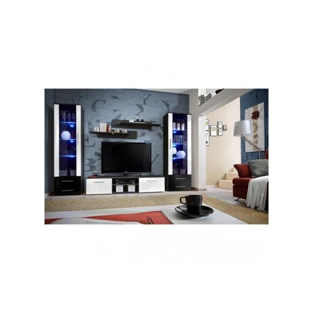 Price Factory - Meuble Tv Galino C design, coloris noir et blanc ...