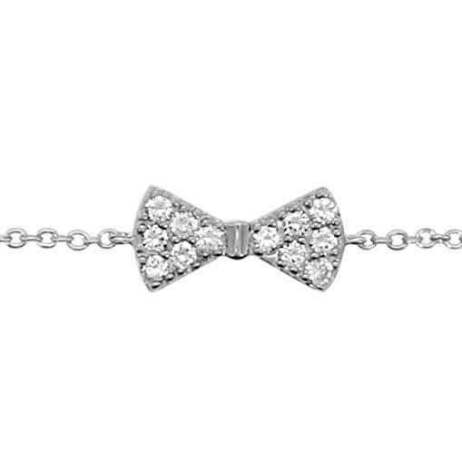 Sochicbijoux So Chic Bijoux © Bracelet Femme & Enfant Longueur Réglable: 16 à 18 cm Chaîne Noeud Papillon Serti Oxyde de Zirconium Bl
