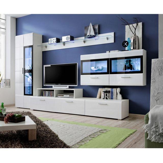 paris prix meuble tv mural design krone 300cm blanc pas cher achat vente meubles tv hi. Black Bedroom Furniture Sets. Home Design Ideas