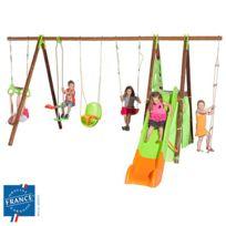 - Portique 2,30 m bois-métal trapèze, cabane, siège bébé pour 9 enfants