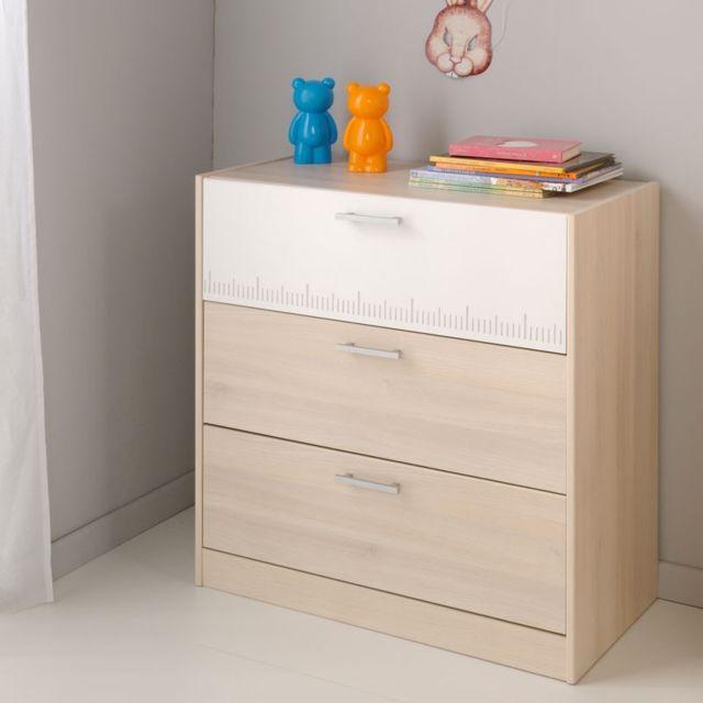 Tousmesmeubles Commode 3 tiroirs Acacia clair/Blanc - Price - L 78 x l 40 x H 83