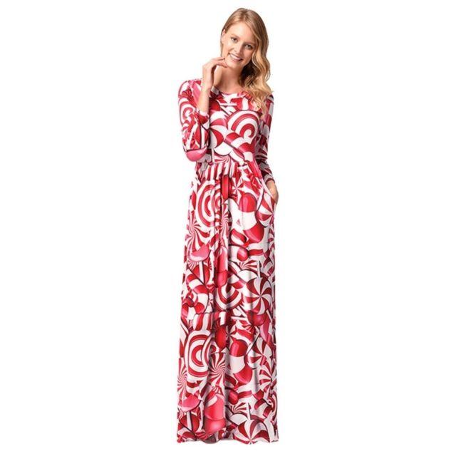 75aac84628a ... Wewoo - Robe Femme Les femmes de Noël motif d impression de bonbons manches  longues ...