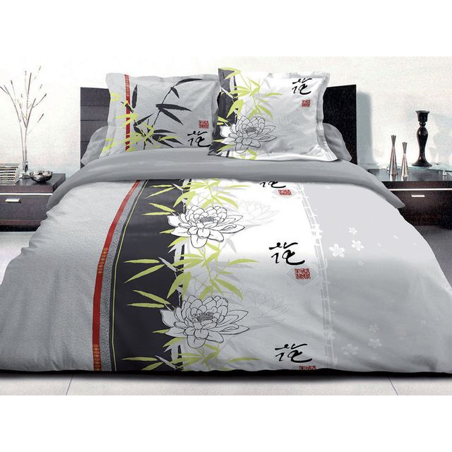 le linge de jules housse de couette 220x240 2 taies pur coton 57 fils kanji lotus. Black Bedroom Furniture Sets. Home Design Ideas