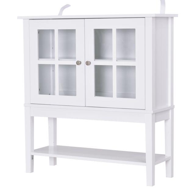HOMCOM Buffet commode armoire de rangement - 2 portes vitrine verre, étagère - dim. 80L x 28l x 84H cm - MDF blanc