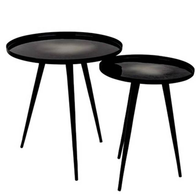 Inside 75 Lot de 2 tables basses Flow plateau en aluminium noir