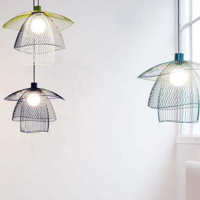 Forestier - Papillon - Suspension Métal Bleu/Vert/Blanc Ø56cm